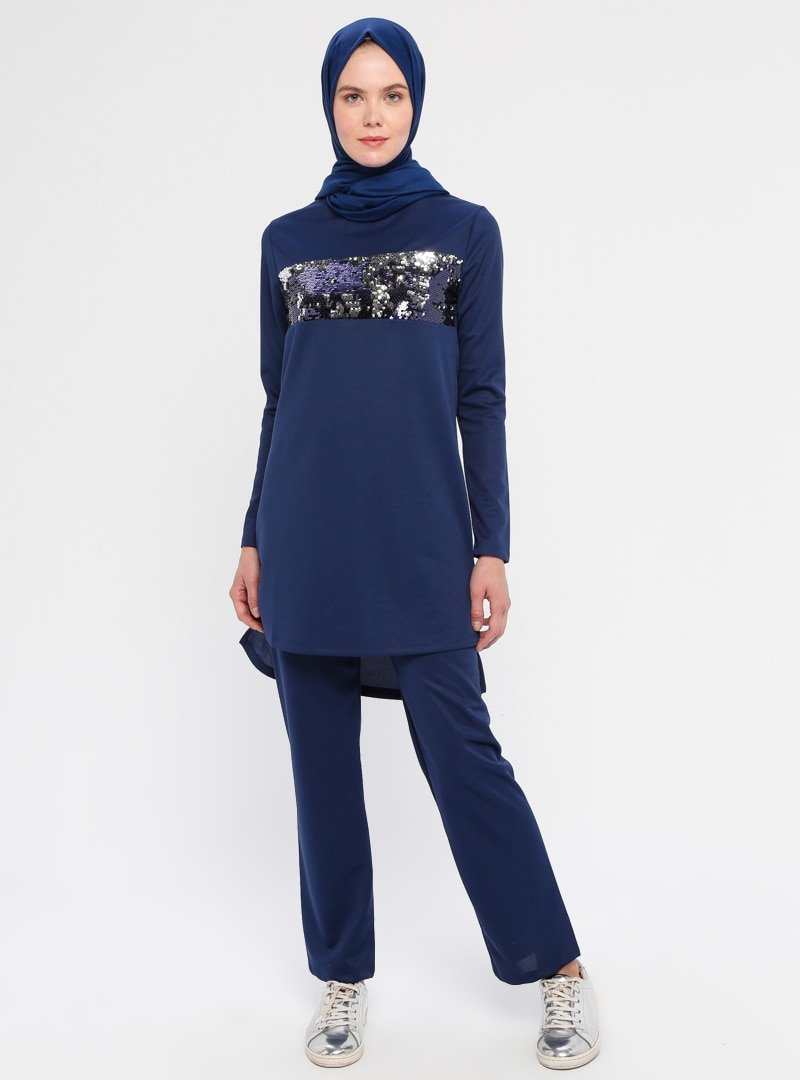 La Giza Fashion İndigo Pul Payet Detaylı Tunik&Pantolon İkili Takım