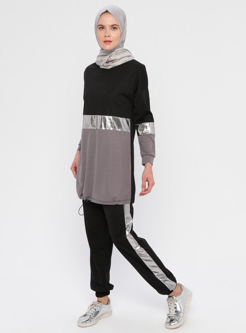 La Giza Fashion Siyah Gri Parlak Şeritli Tunik&Pantolon İkili Takım