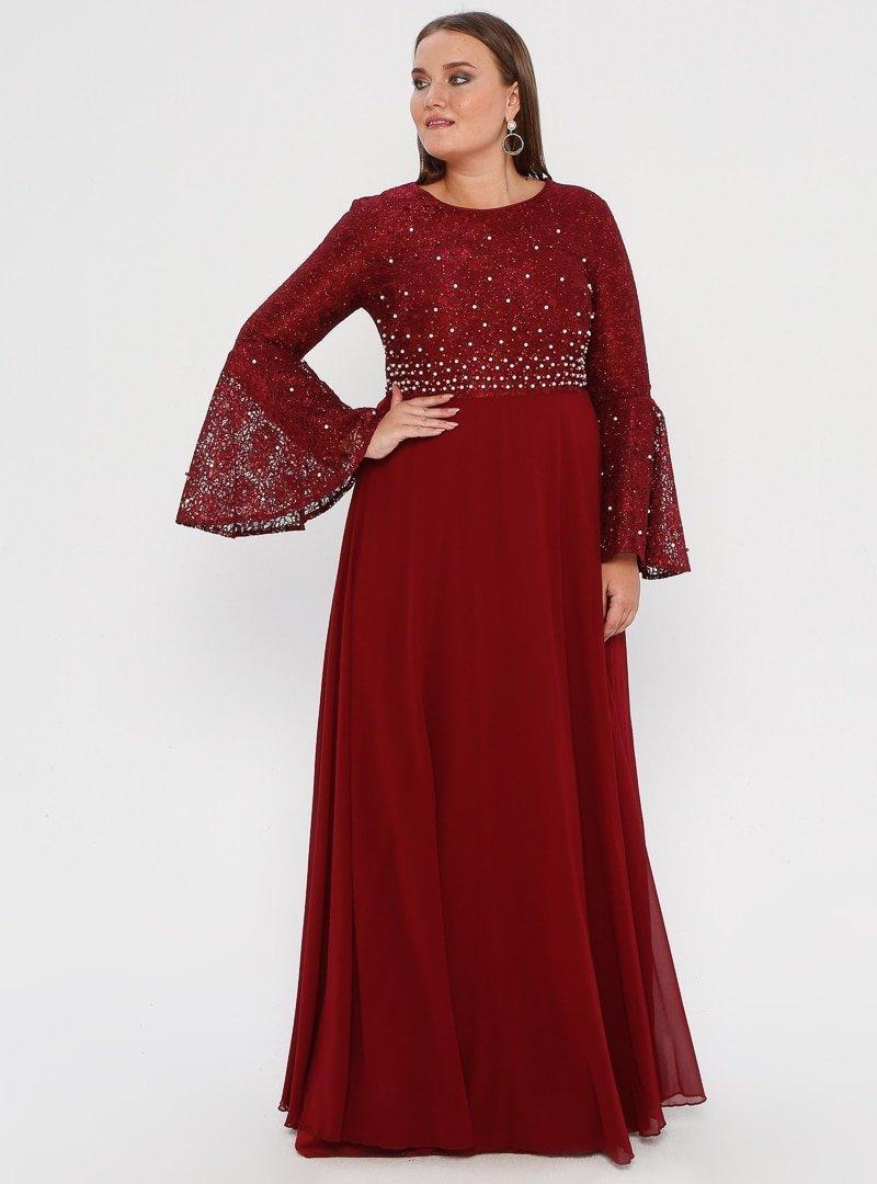 MODAYSA Bordo Boncuk Detaylı Elbise