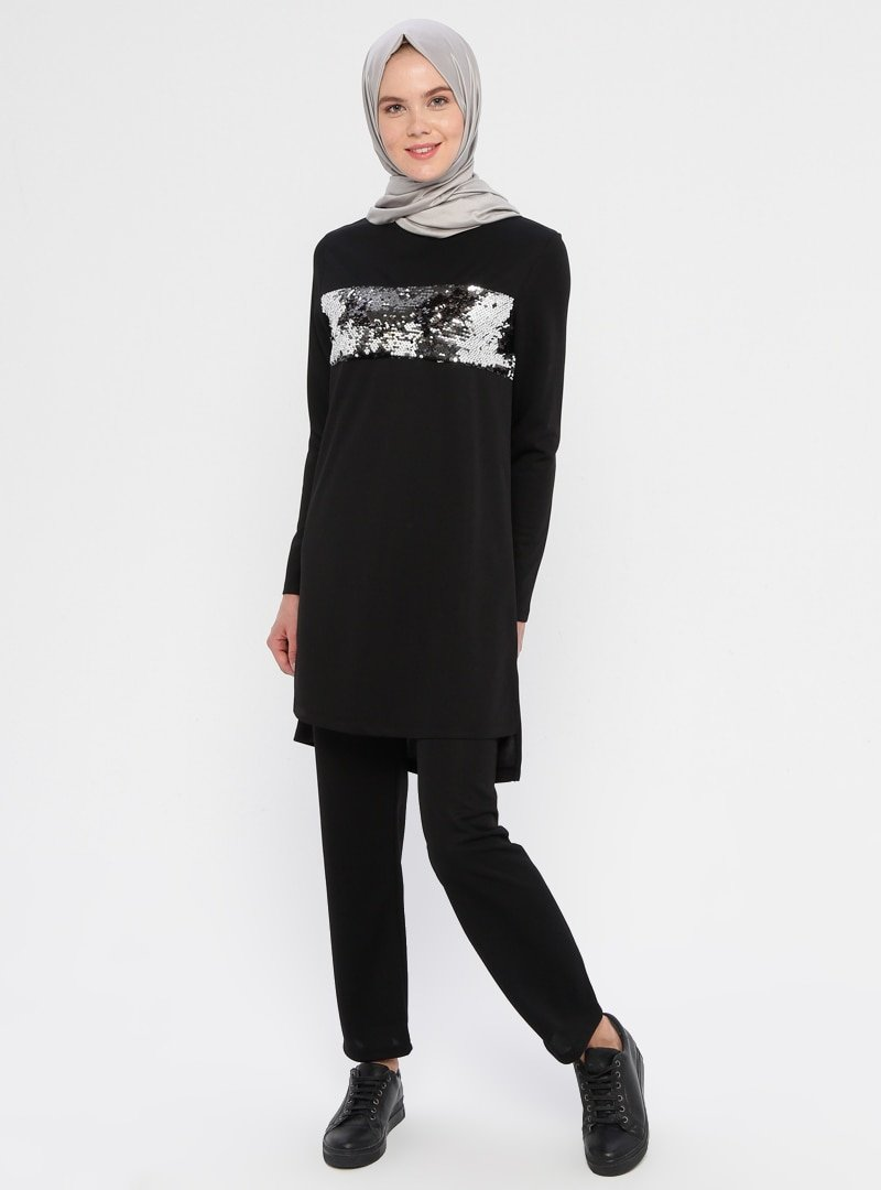 La Giza Fashion Siyah Pul Payet Detaylı Tunik&Pantolon İkili Takım