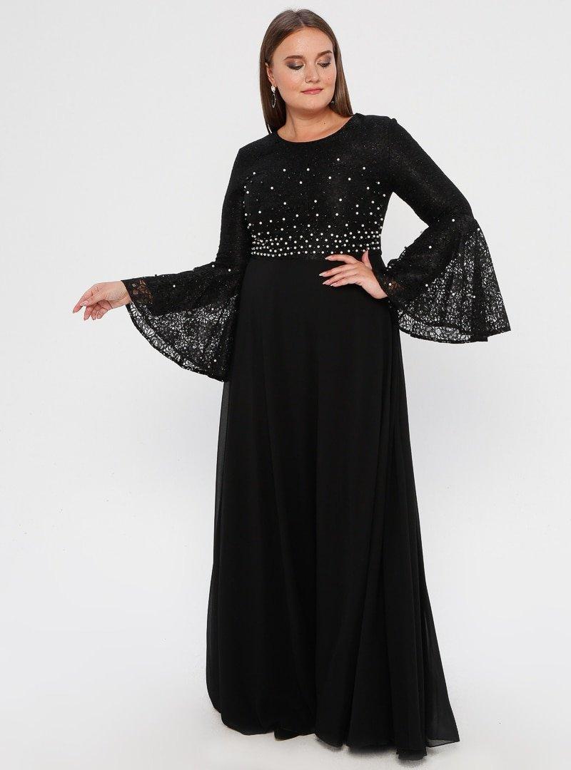 MODAYSA Siyah Boncuk Detaylı Elbise