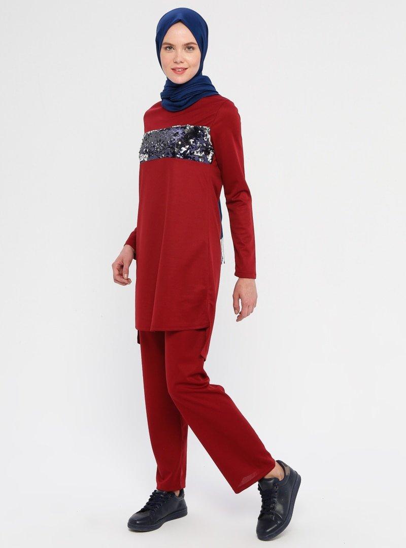 La Giza Fashion Bordo Pul Payet Detaylı Tunik&Pantolon İkili Takım