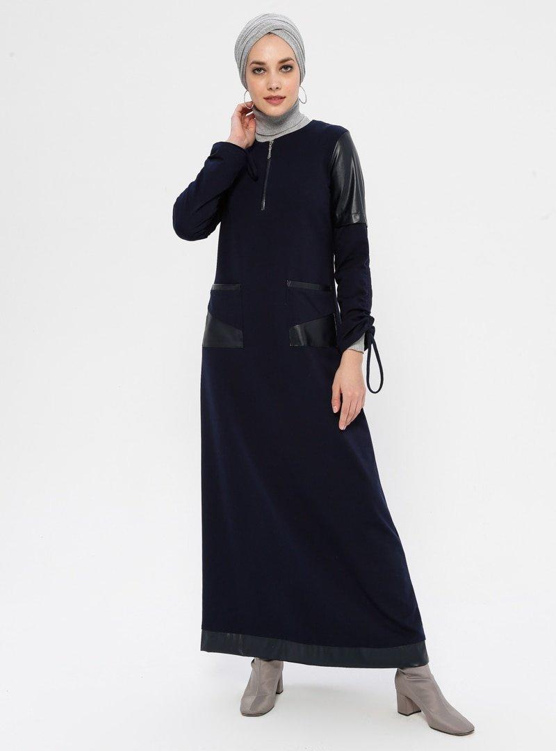 Ginezza Lacivert Kol Detaylı Elbise