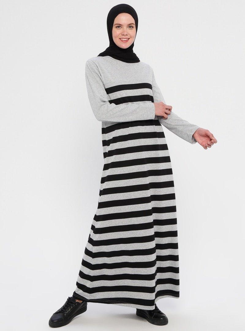 La Giza Fashion Gri Siyah Çizgili Spor Elbise