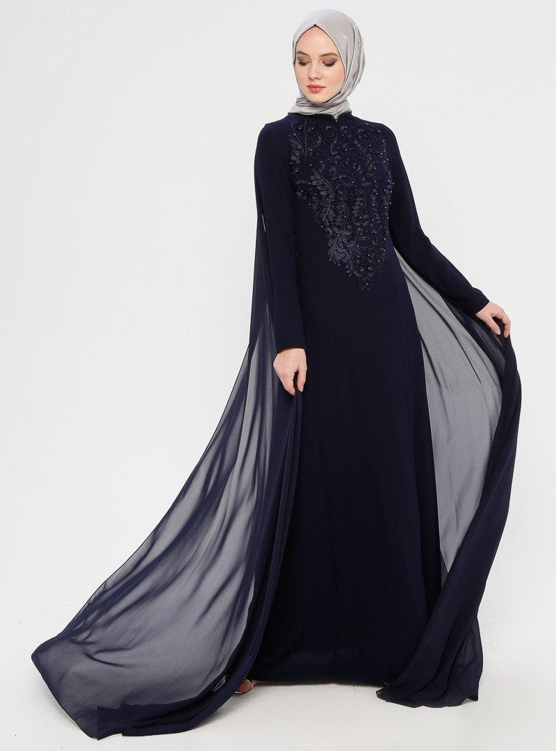 MODAYSA Lacivert Dantel Detaylı Abiye Elbise