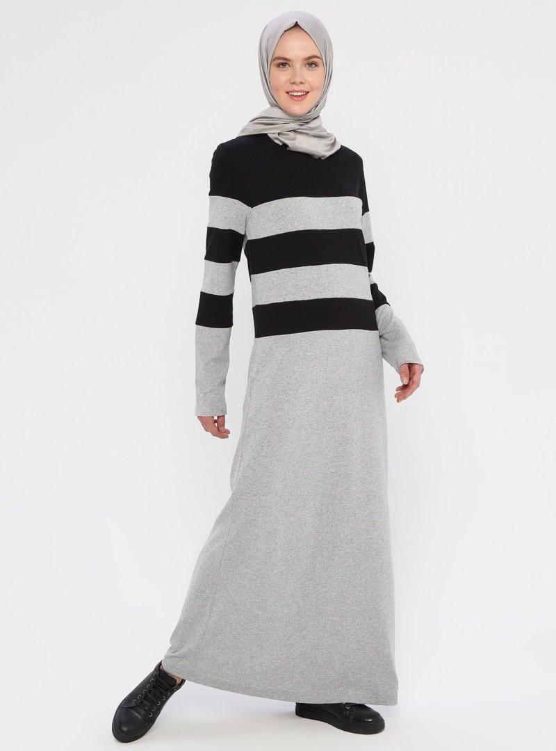 La Giza Fashion Siyah Gri Çizgili Spor Elbise