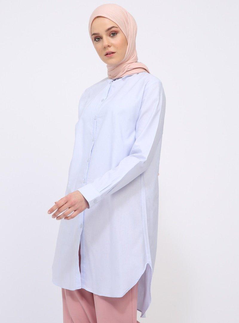 İLMEK TRİKO Buz Mavisi Arkası Uzun Gömlek