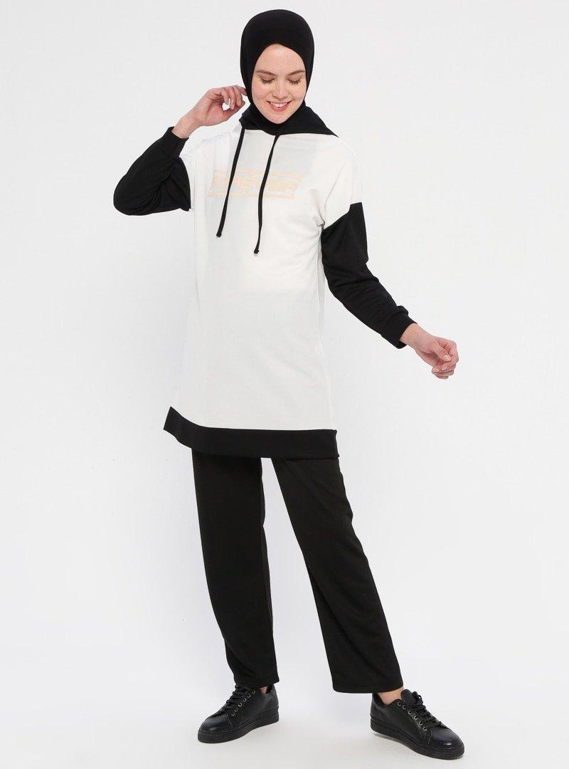 La Giza Fashion Ekru Kapüşonlu Tunik&Pantolon İkili Takım
