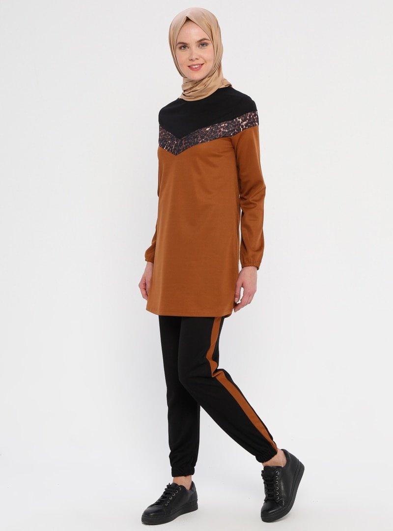 La Giza Fashion Tarçın Leopar Şeritli Tunik&Pantolon İkili Takım
