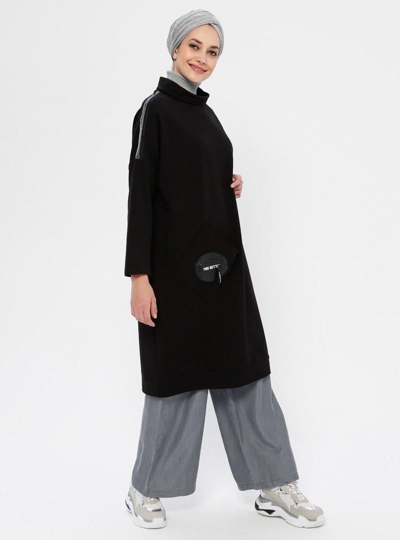 Ginezza Siyah Cep Detaylı Tunik