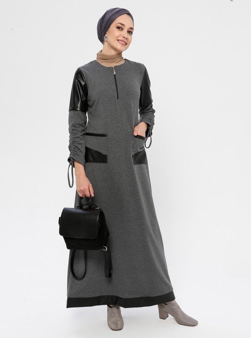 Ginezza Gri Kol Detaylı Elbise