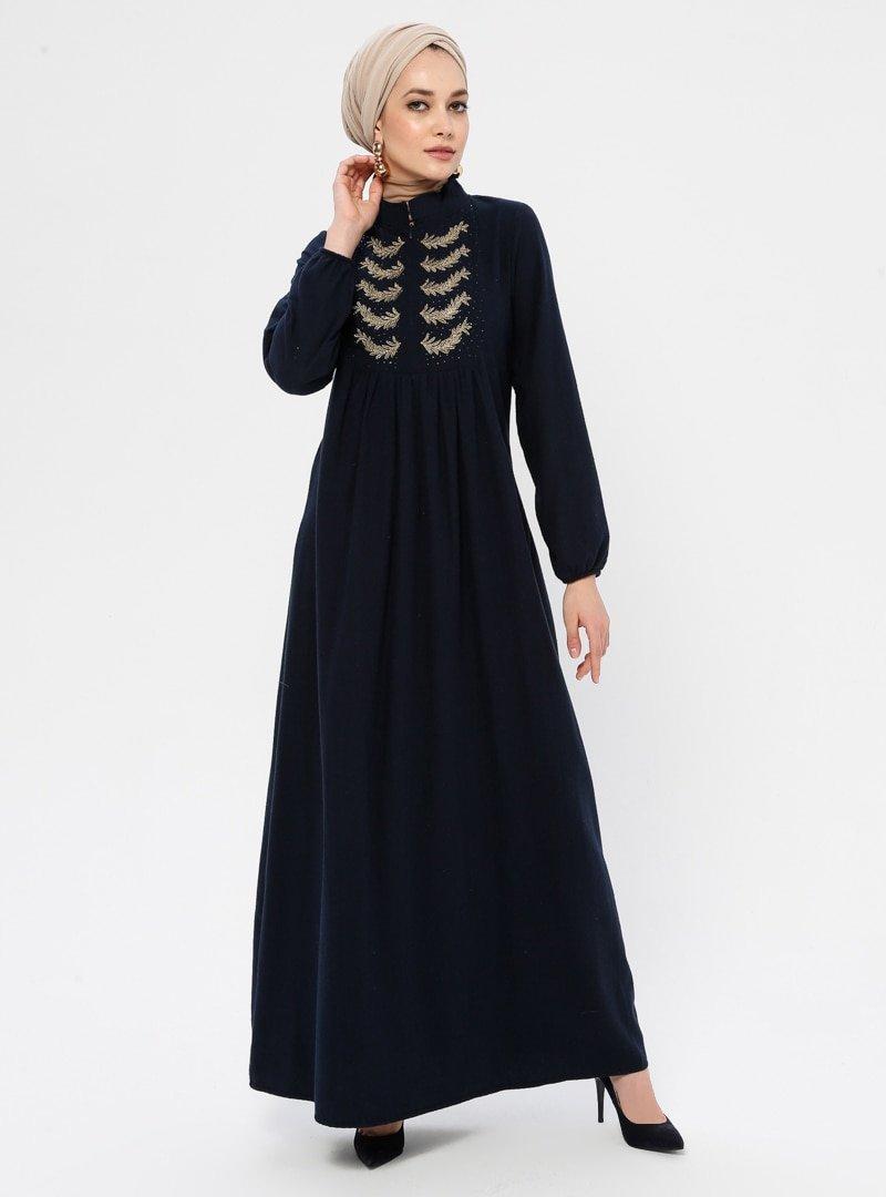 Ginezza Koyu Lacivert Kolu Lastik Detaylı Elbise