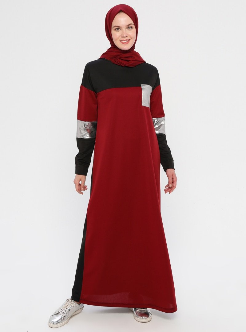 La Giza Fashion Bordo Cep Detaylı Blok Renkli Elbise