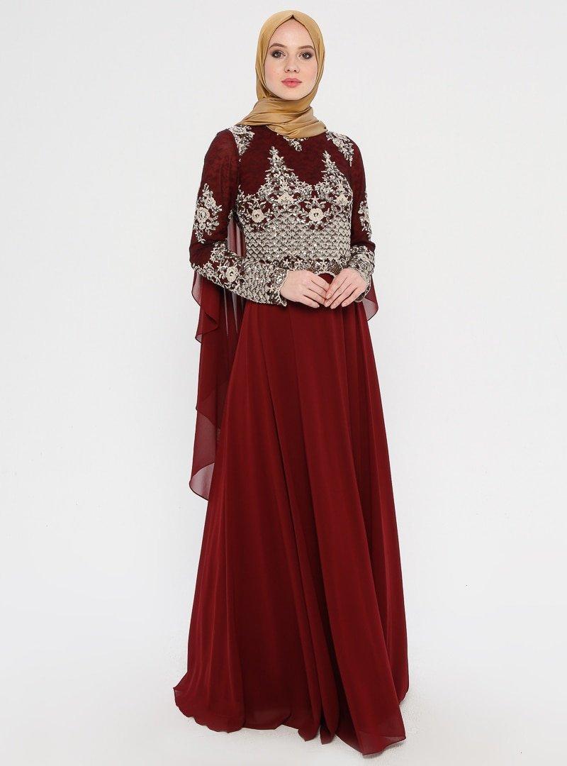 MODAYSA Bordo Taş Detaylı Abiye Elbise