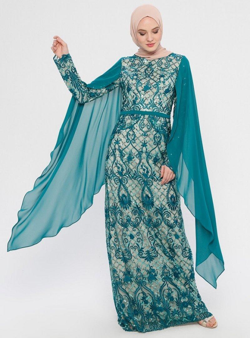 MODAYSA Yeşil Pul Detaylı Abiye Elbise