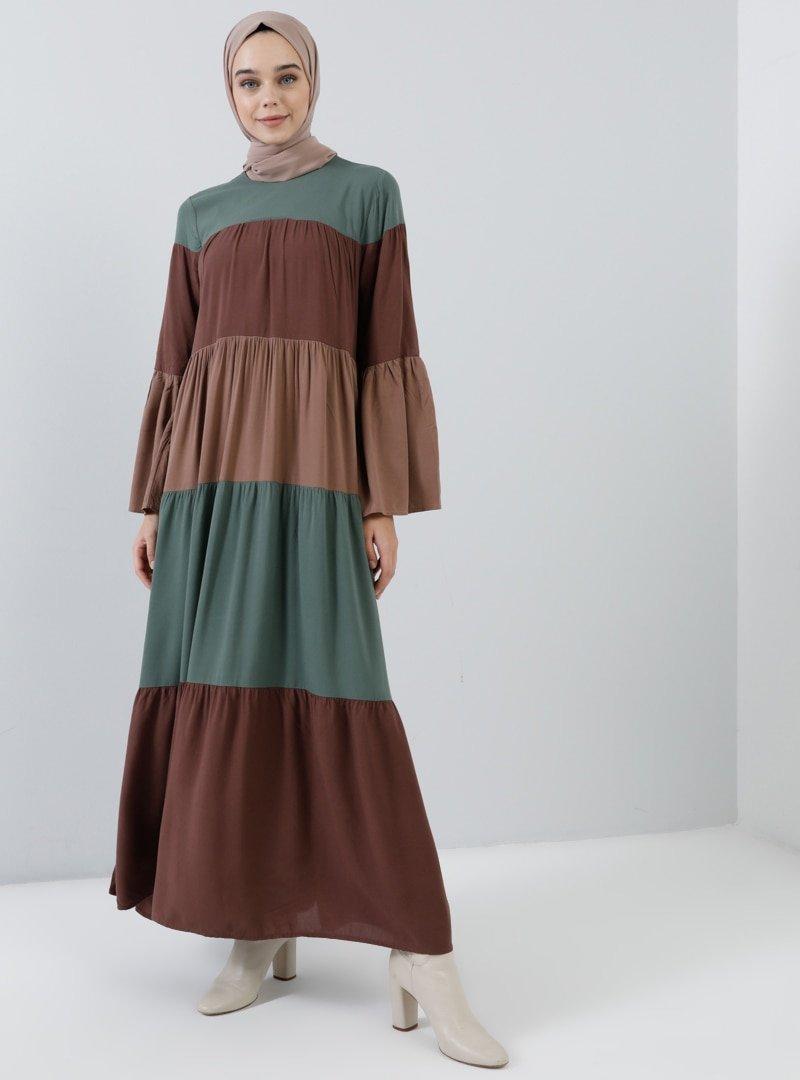 Benin Açık Kahverengi Doğal Kumaşlı Salaş Elbise