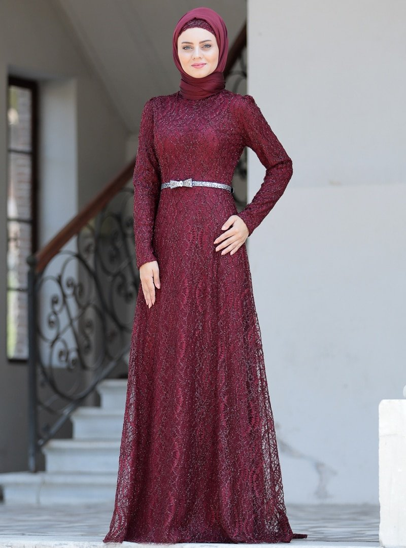 Ahunisa Bordo Parıltı Abiye Elbise