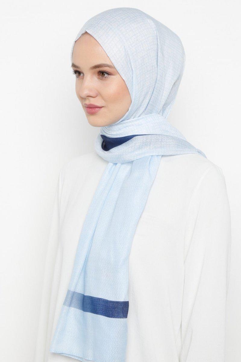 Daisy Accessory Mavi Çerçeve Desenli Şal