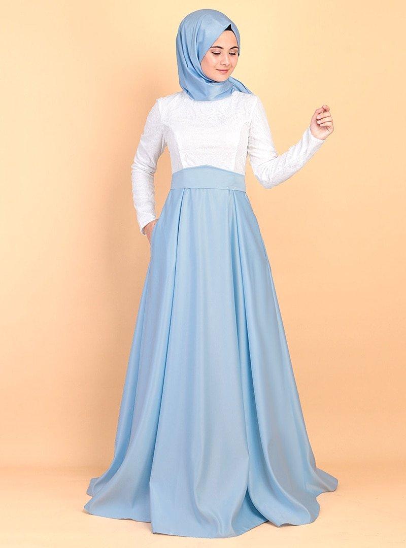 Azra Özer Bebe Mavisi Nur Abiye Elbise