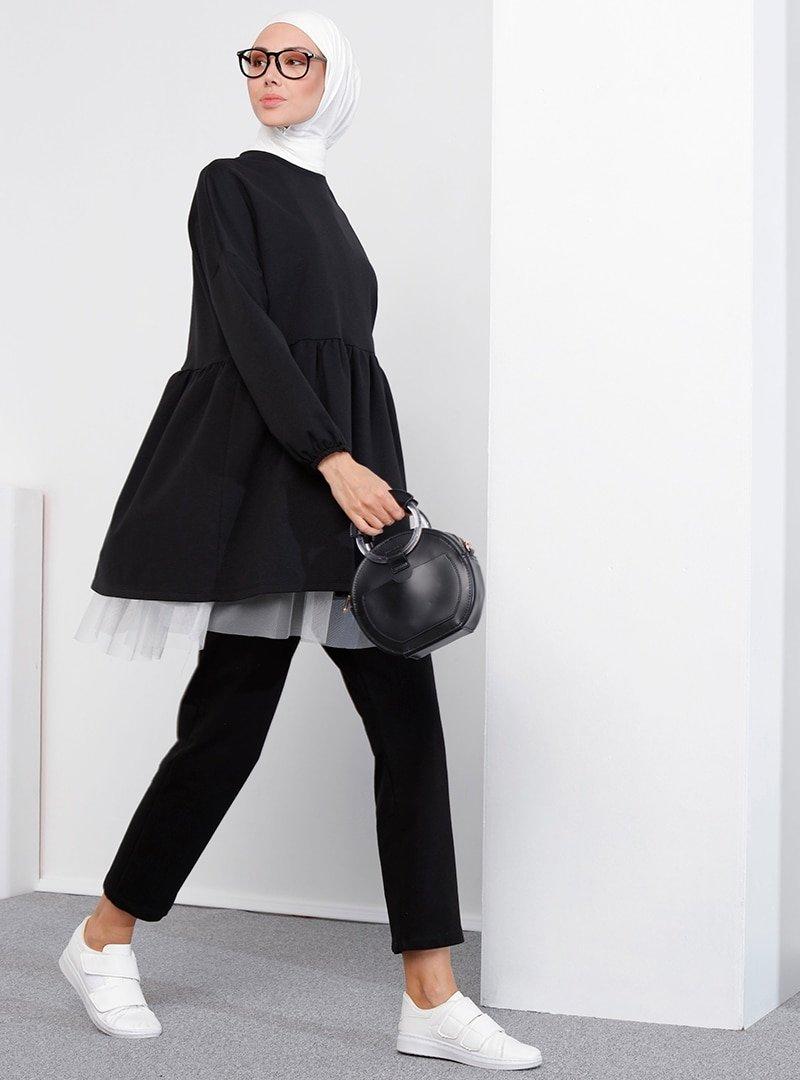 İnşirah Siyah Doğal Kumaşlı Tunik & Pantolon Takım