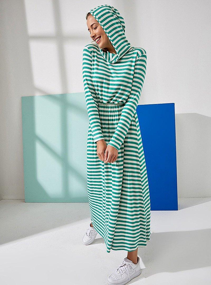 Muni Muni Yeşil Doğal Kumaşlı Kapüşonlu Elbise