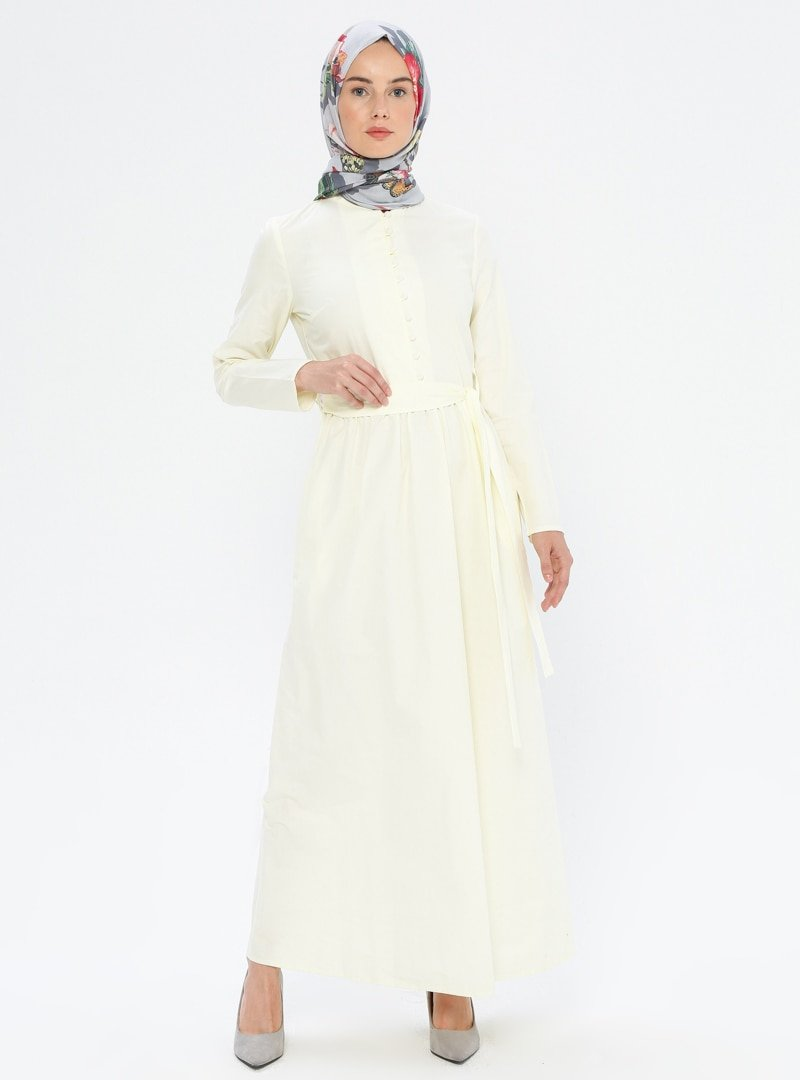 MisCats Sarı Düğme Detaylı Elbise