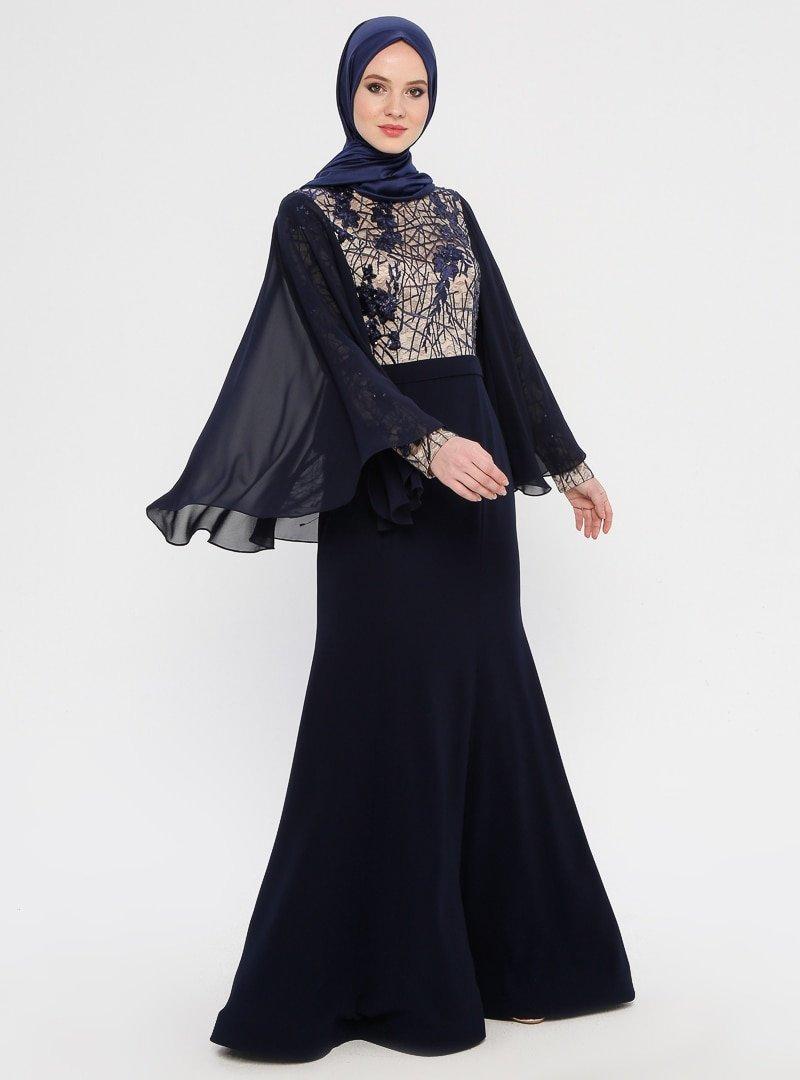 MODAYSA Lacivert Pul Detaylı Abiye Elbise