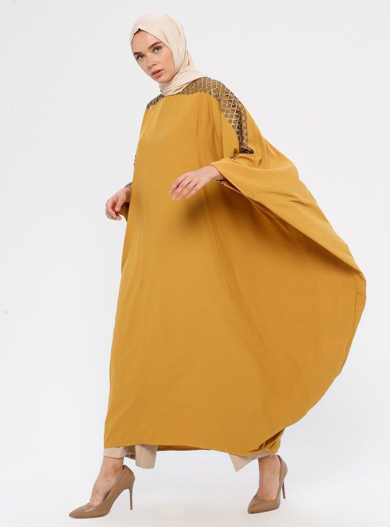 Filizzade Hardal Altın Kol Detaylı Ferace