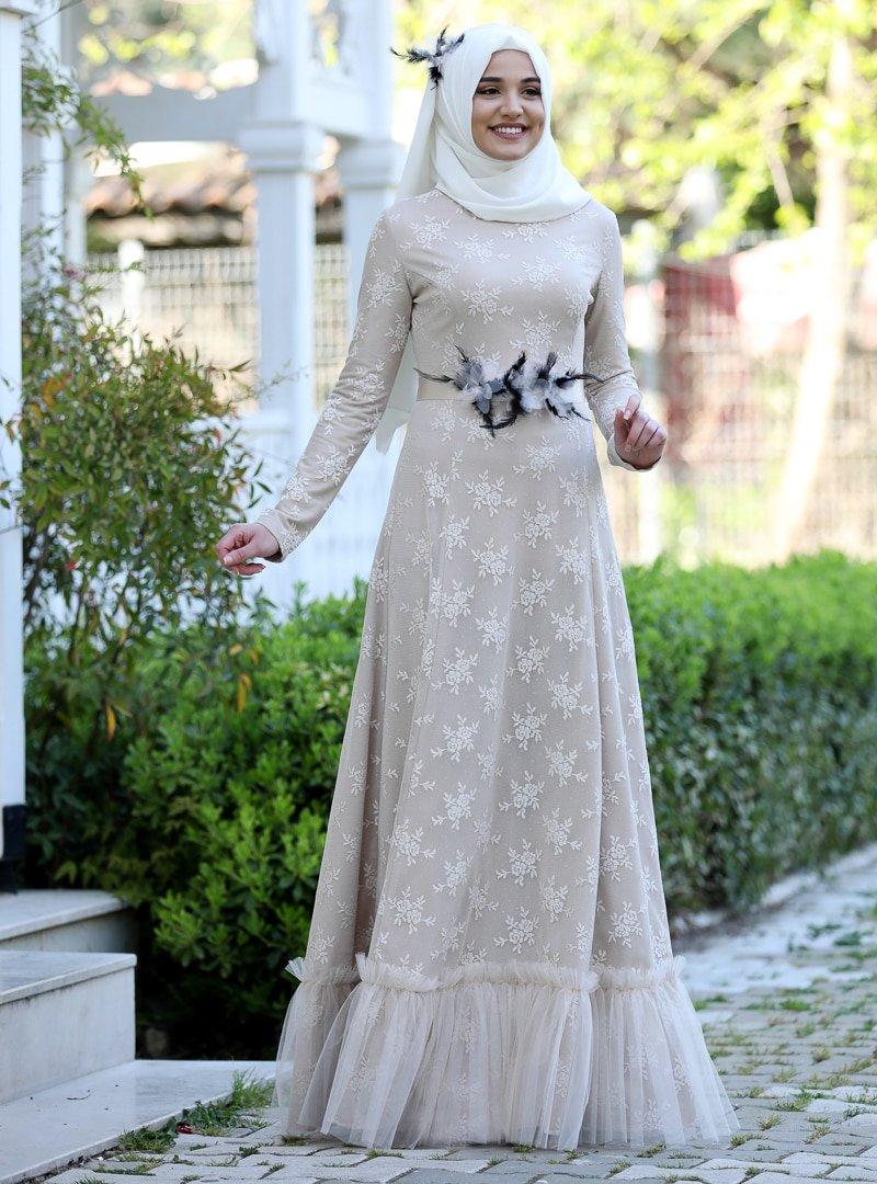 Rana Zenn Taş Çiçek Dantel Abiye Elbise