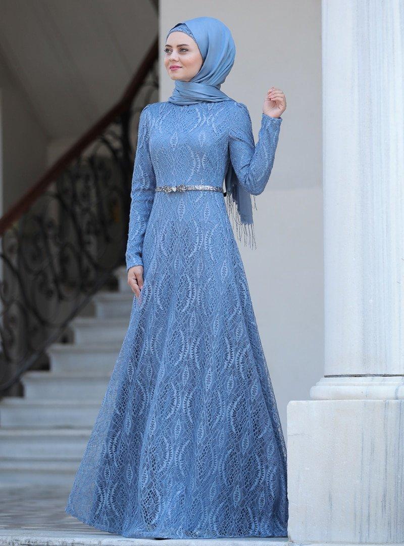 Ahunisa İndigo Parıltı Abiye Elbise