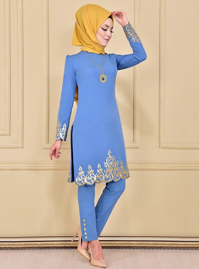 AYŞE MELEK TASARIM Mavi Gold Aplike Tunik & Pantolon İkili Abiye Elbise Takım