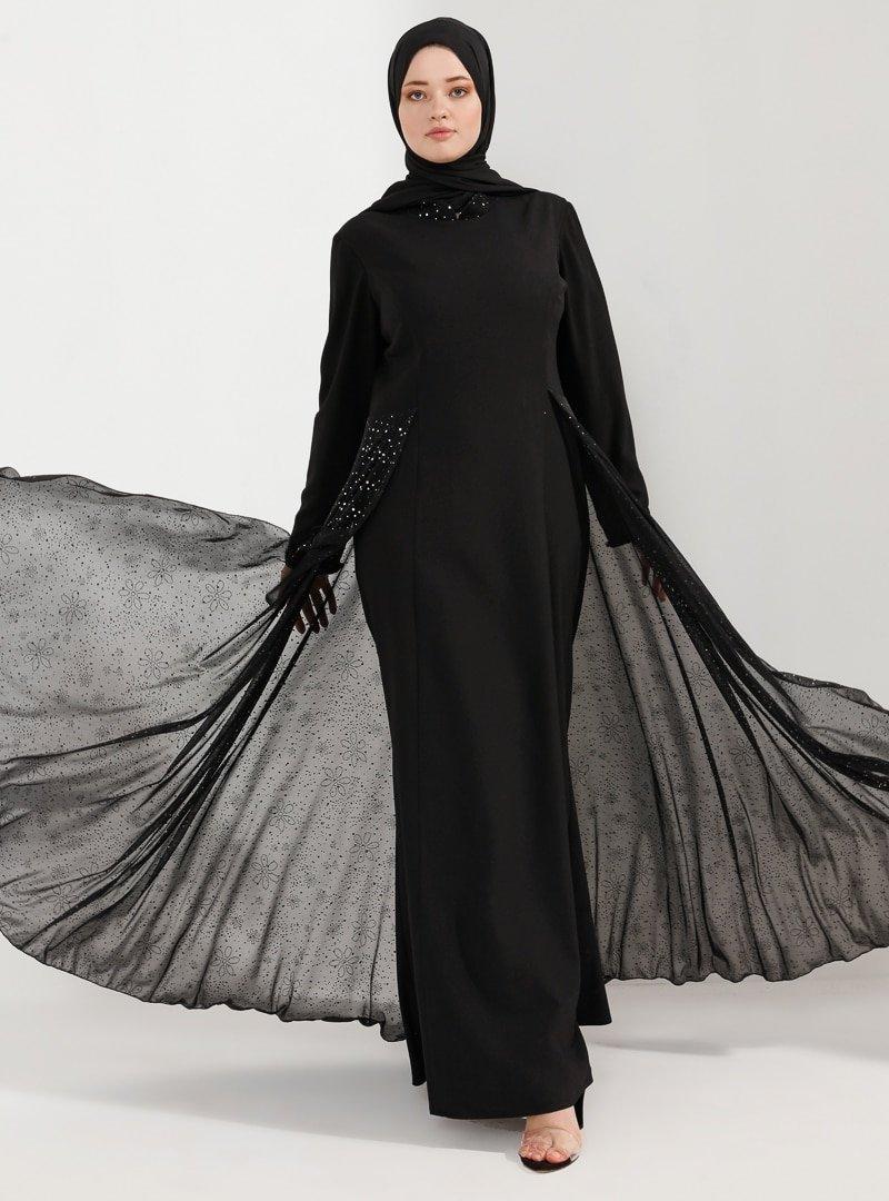 Nesrin Emniyetli Siyah Pırıl Abiye Elbise