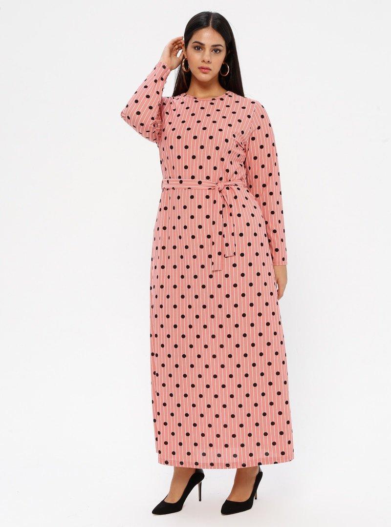 GELİNCE Pudra Puantiyeli Elbise