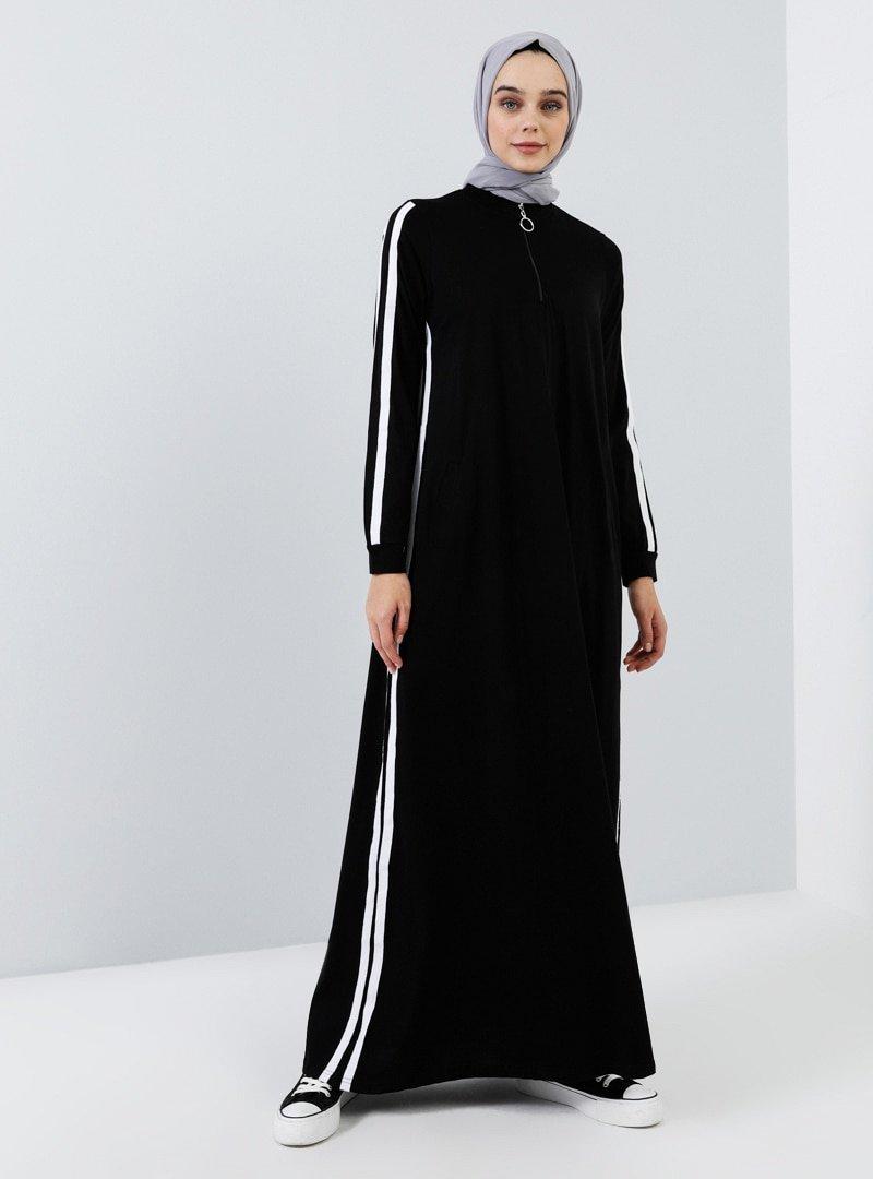 Benin Siyah Doğal Kumaşlı Cep Detaylı Elbise