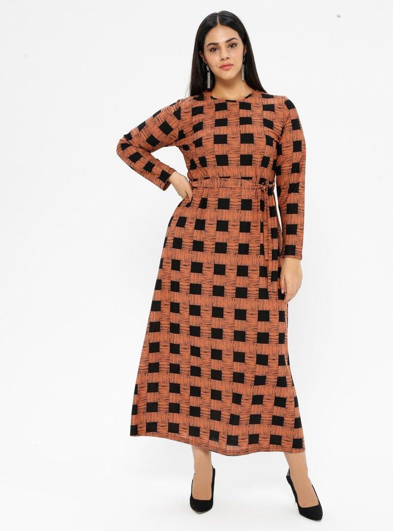 GELİNCE Taba Kare Detaylı Elbise