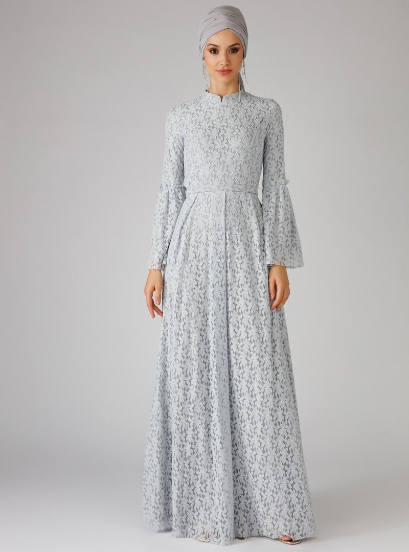 Mwedding Gri Dantelli Abiye Elbise