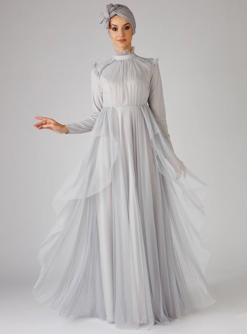 Mwedding Gri Tüllü Abiye Elbise