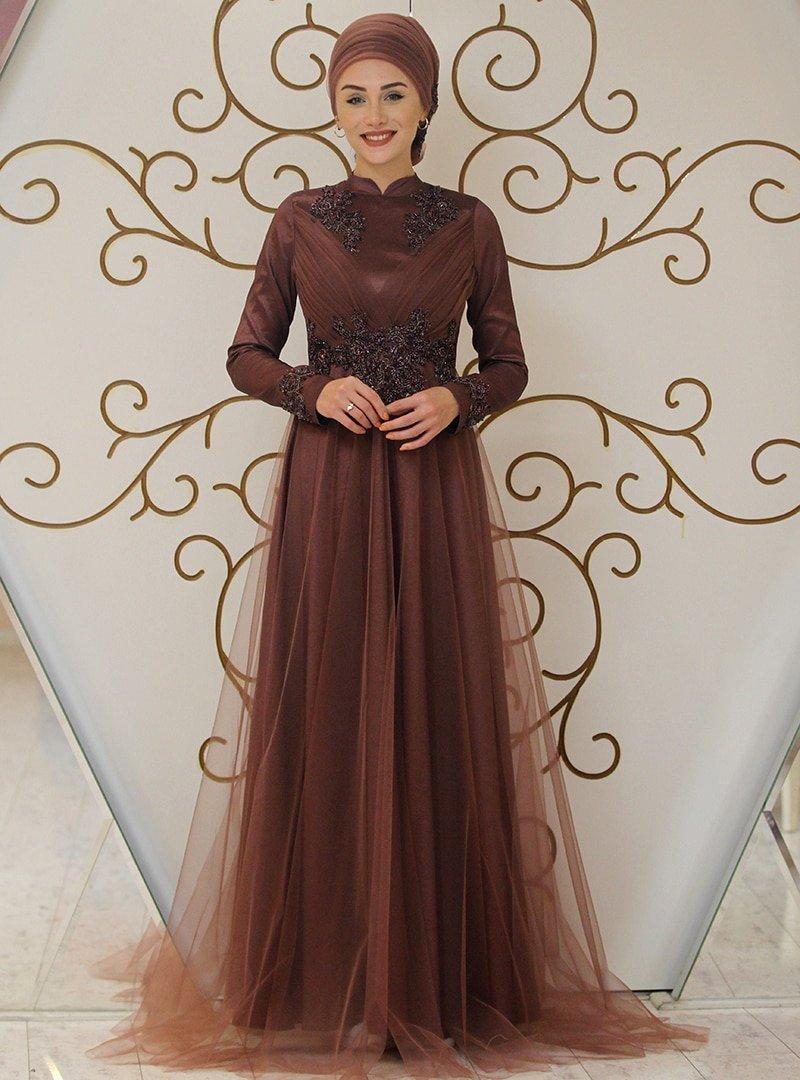 Gamze Özkul Bakır Prenses Abiye Elbise