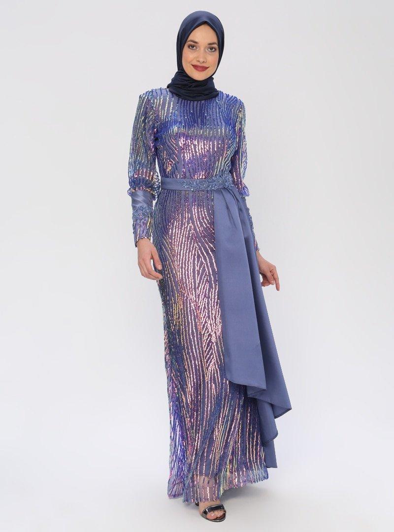 Mileny Lila Payetli Abiye Elbise