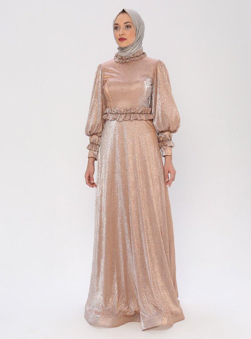 Mileny Bej Pul Detaylı Abiye Elbise