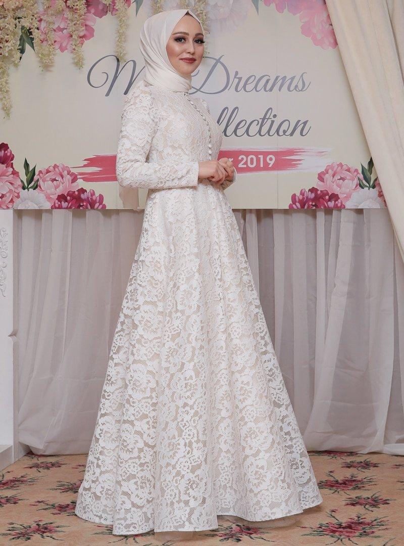 My Dreams Collection Ekru Kelebek Abiye Elbise