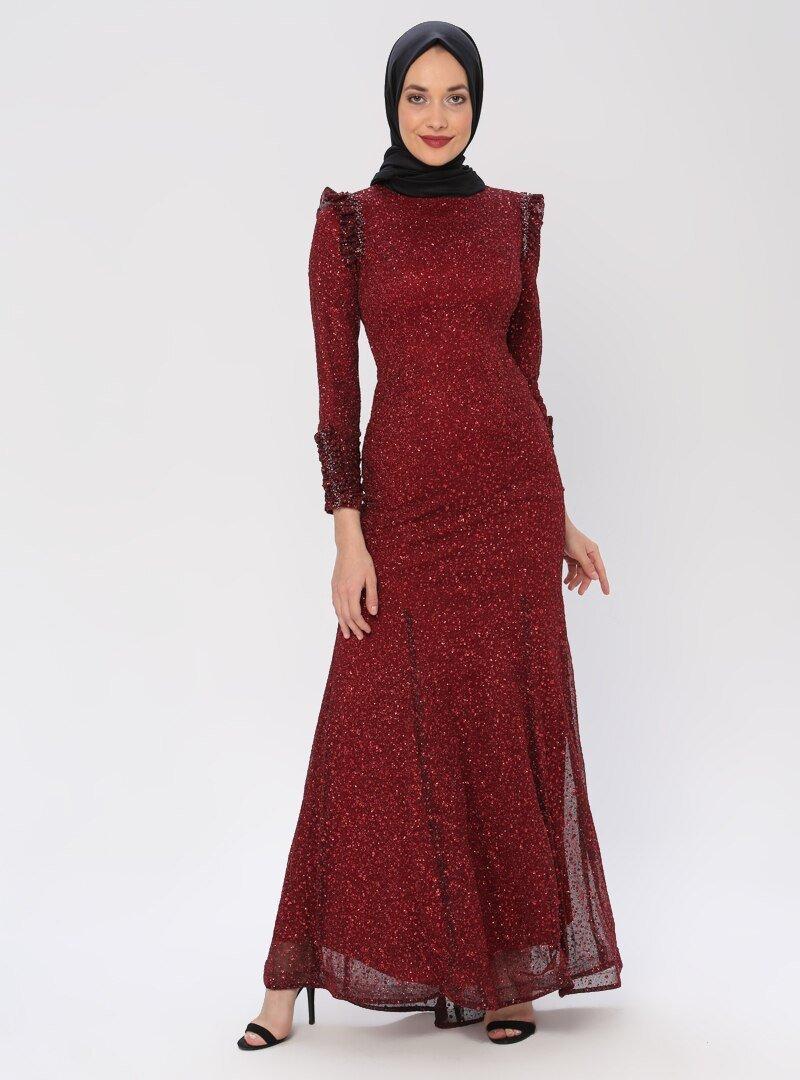 Mileny Bordo Pul Detaylı Abiye Elbise