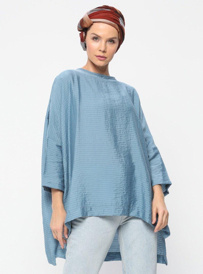 Meryem Acar Mavi Salaş Tunik