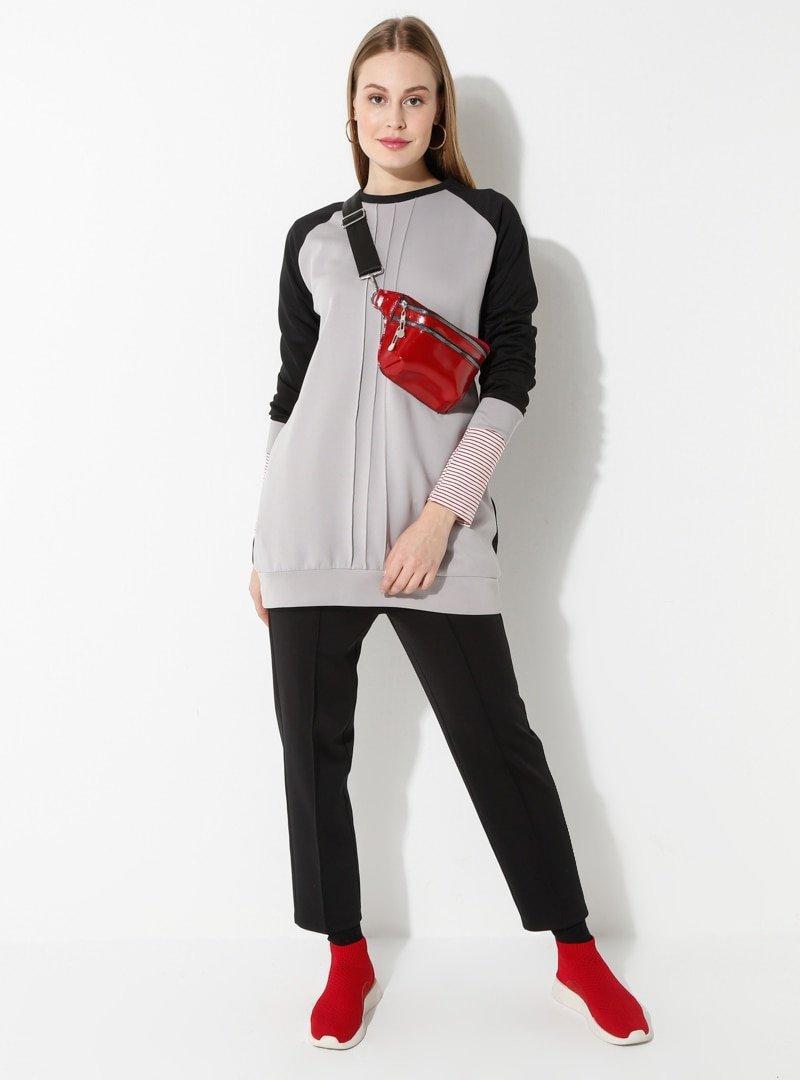 Laruj Gri Sweatshirt&Pantolon İkili Takım