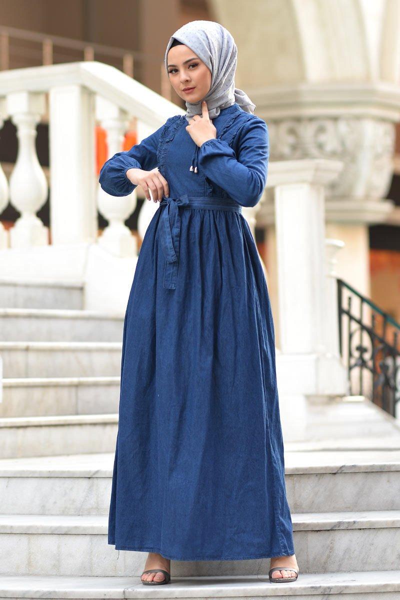 Tesettur Dunyasi Koyu Mavi Firfirli Kot Elbise Devr I Tesettur