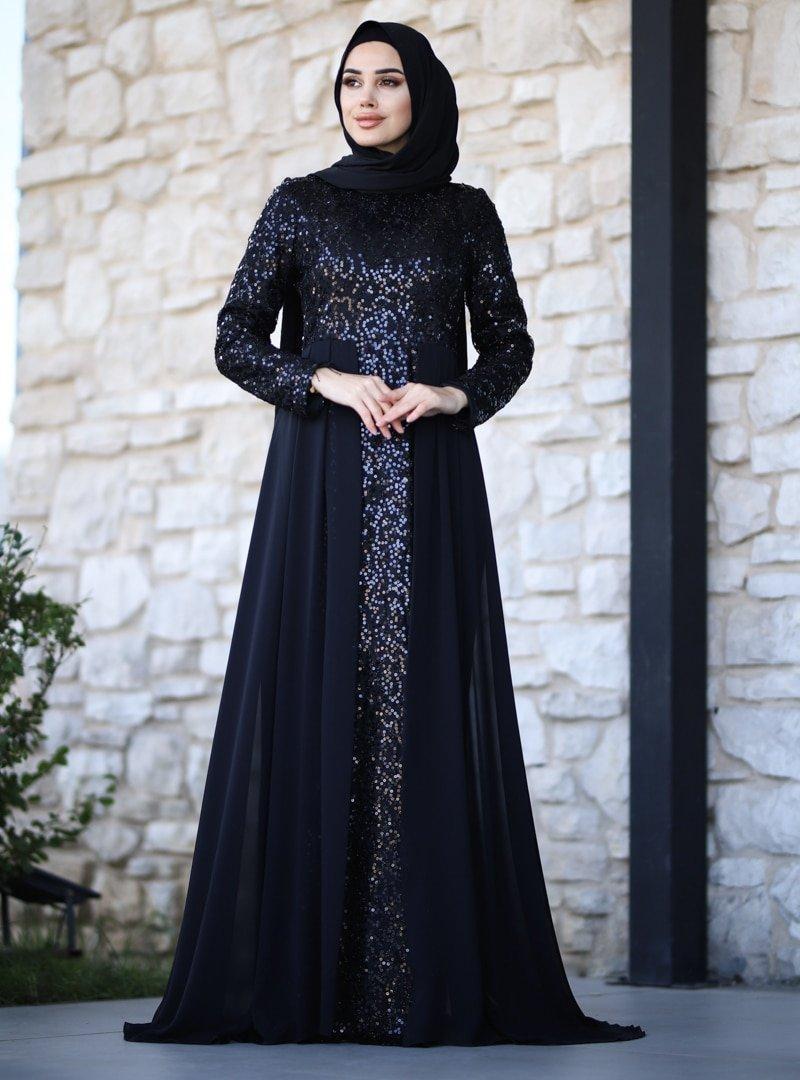 Amine Hüma Siyah Elvan Abiye Elbise