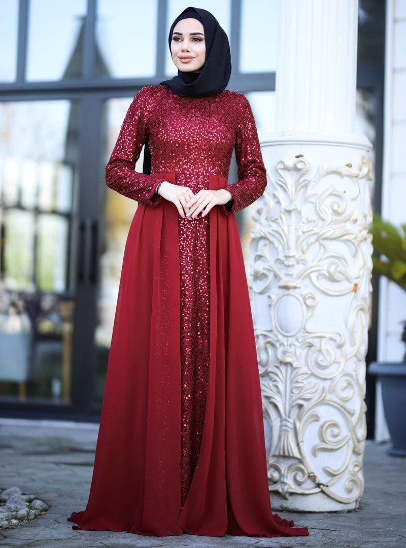 Amine Hüma Bordo Elvan Abiye Elbise