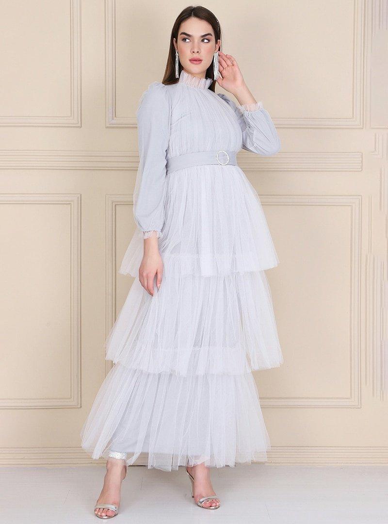 Lady Huri Gri Kemerli Kat Tüllü Abiye Elbise