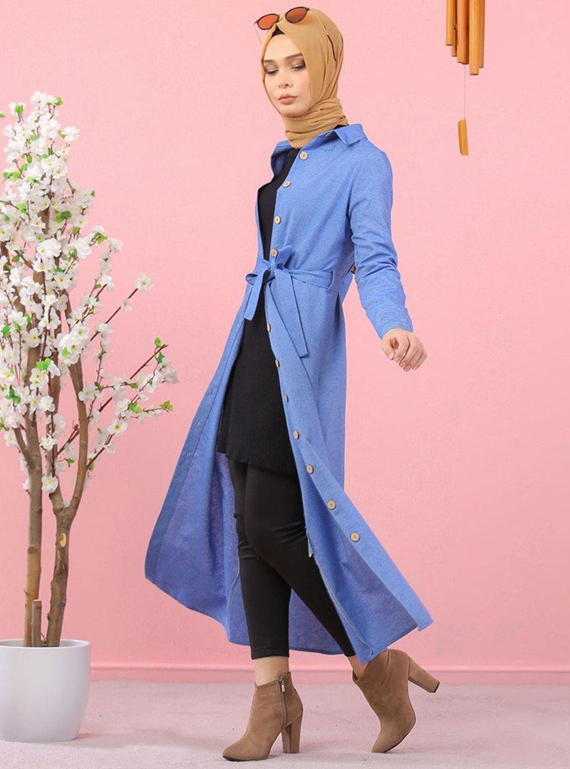 Tofisa Mavi Kuşaklı Gömlek Elbise