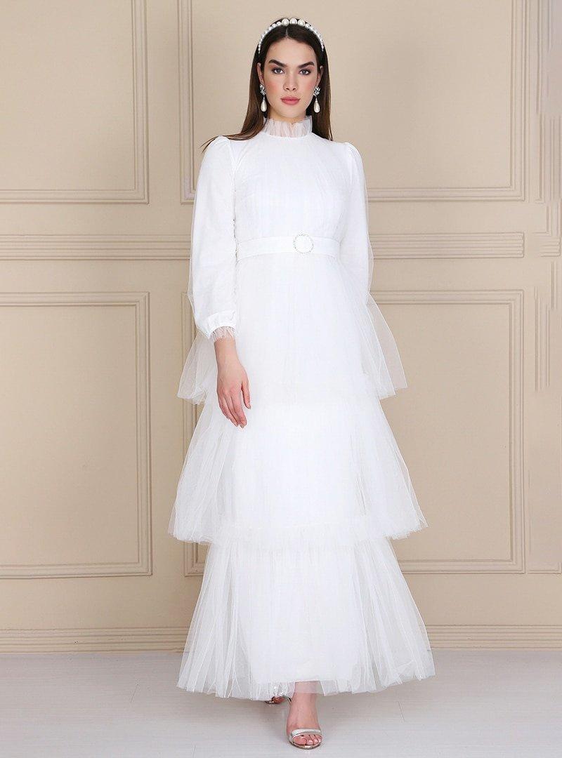 Lady Huri Beyaz Kemerli Kat Tüllü Abiye Elbise